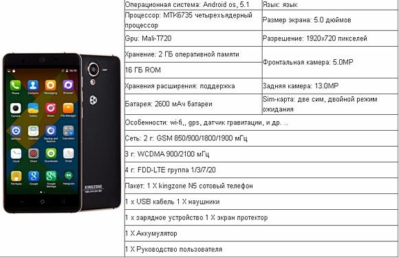 Kingzone n5 характеристики